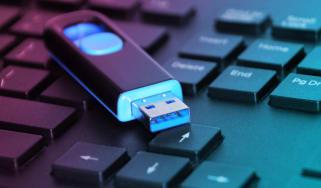 Flash storage USB on a computer keyboard