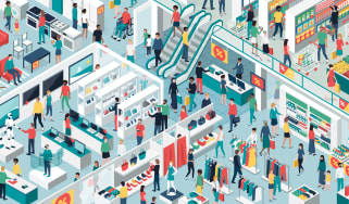 Illustration of a futuristic shopping centre with different tech-driven experiences