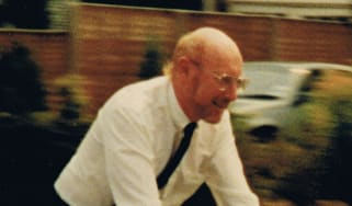 Sir Clive Sinclair riding an electric bike