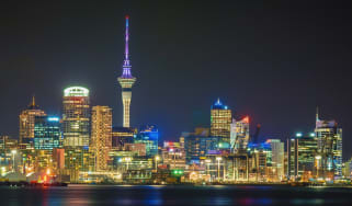 A shot of the skyline of Auckland, New Zealand at night