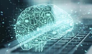 A digital rendering of a brain on a keyboard