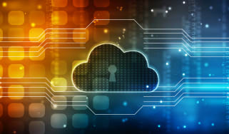 Abstract image representing cloud cyber security showing a cloud with a keyhole in the middle in front of a yellow and blue circuit board background