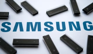 Samsung logo on the printed document and large microchips placed around