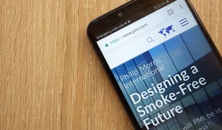 The Philip Morris International website on a smartphone