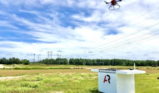 American Robotics drone in front of blue sky