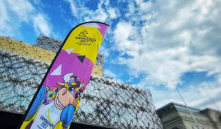 The poster for Birmingham 2022 Commonwealth Games outside the Library of Birmingham