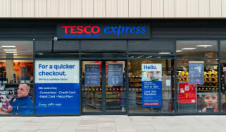 Entrance to the Tesco Express supermarket grocery store in Holborn, London