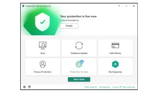 A screenshot of Kaspersky Internet Security's main dashboard