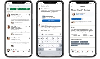 Three screenshots of the tools provided by LinkedIn's Service Marketplace