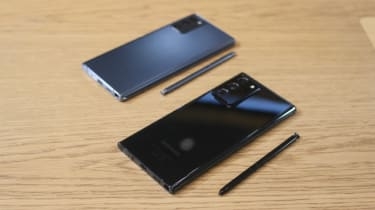Two Samsung Galaxy Note 20 series devices beside one another