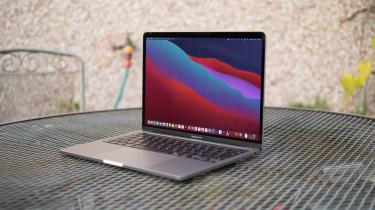 Apple M1 MacBook Pro 13in open, side angle