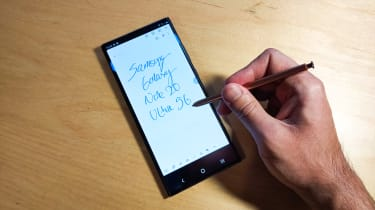 Samsung Galaxy Note 20 Ultra 5G written by the S Pen on the phone