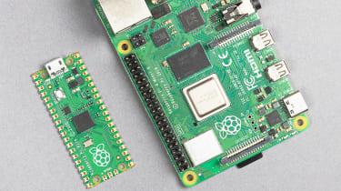 The Raspberry Pi Pico compared with a Raspberry Pi 4