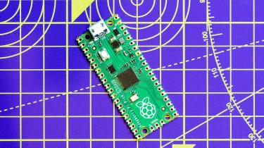 The Raspberry Pi Pico against blueprints