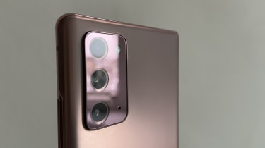 A closeup of the Samsung Note 20's triple-lens camera