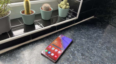 The Samsung Galaxy Note 20 next to a windowsill with three plants in background