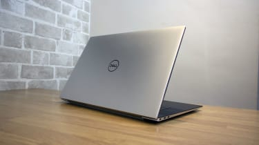 A photograph of the Dell XPS 17 from the rear
