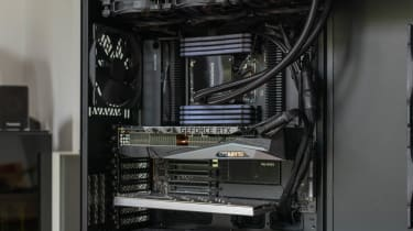 The internal design of the Chillblast Fusion Threadripper Pro RTX 3975WX Workstation showing the motherboard and GPU