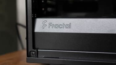 The Fractal Design logo in the Chillblast Fusion Threadripper Pro RTX 3975WX Workstation casing