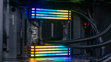 The Chillblast Fusion Threadripper Pro RTX 3975WX Workstation RAM showing activated RGB lighting