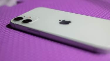 The Apple iPhone 12 mini face-down on a foam mat