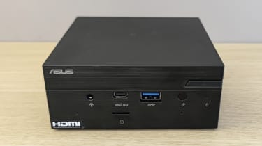 The Asus PN51 MiniPC on a desk