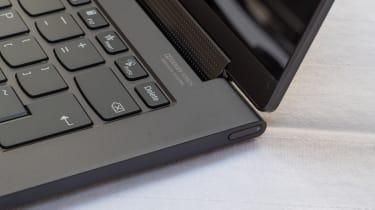 A closeup of the Lenovo Yoga 9i 14in (Shadow Black) power button