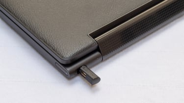 A closeup of the stylus holder of the Lenovo Yoga 9i 14in (Shadow Black)