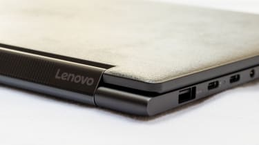 A closeup of the ports of the Lenovo Yoga 9i 14in (Shadow Black)