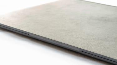 Closeup of the Lenovo Yoga 9i 14in (Shadow Black) logo detail