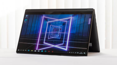 The Lenovo Yoga 9i 14in (Shadow Black) in tent mode