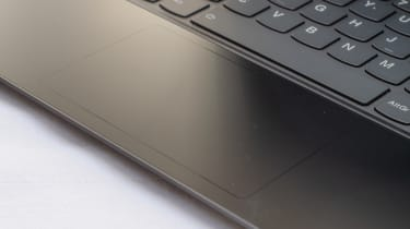 A closeup of the touchpad of the Lenovo Yoga 9i 14in (Shadow Black)