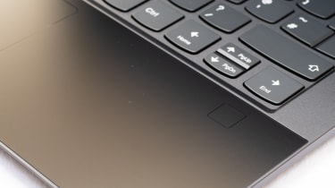 A closeup of the palmrest of the Lenovo Yoga 9i 14in (Shadow Black)