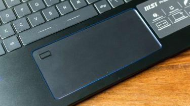 A closeup of the MSI Prestige 14 Evo's touchpad