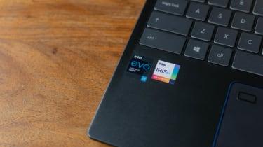 A closeup of the MSI Prestige 14 Evo's Intel branding