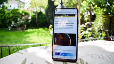 The Nokia 5.4 outside on a table
