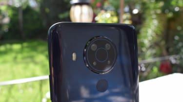 A closeup of the rear camera of the Nokia 5.4