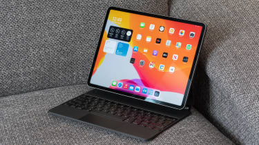 The 12.9in Apple iPad Pro on a couch