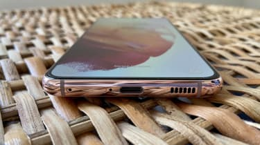 A photograph of the Samsung Galaxy S21 5G's USB-C port