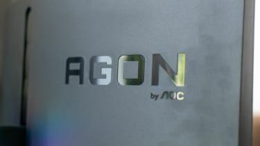 A closeup of the Porsche Design AOC Agon PD27's rear logo