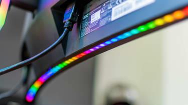 A closeup of the Porsche Design AOC Agon PD27's RGB lighting