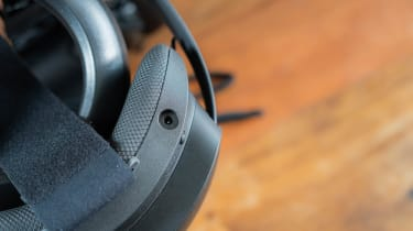 A closeup of the HTC Vive Focus 3's charging port