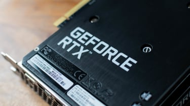 A closeup of the GeForce RTX branding on the underside of the Palit RTX 3060 Dual