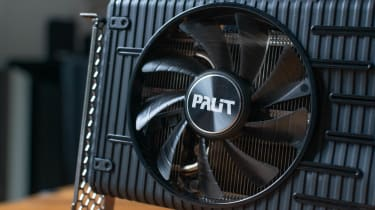 A closeup of the Palit RTX 3060 Dual's fan