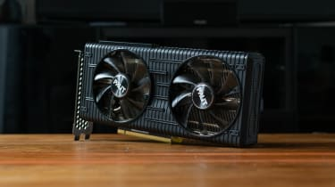 A photograph of the Palit RTX 3060 Dual on its side