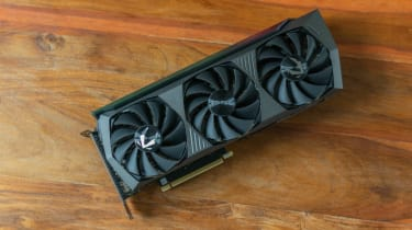 A photograph of the Zotac GeForce RTX 3080 AMP Holo from above