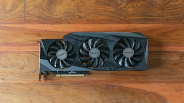 A photograph of the Gigabyte GeForce RTX 3090 GAMING OC 24G from above