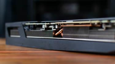A closeup of the Gigabyte GeForce RTX 3090 GAMING OC 24G's heatsinks and heat pipes