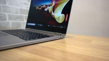 A closeup of the Lenovo ThinkPad X1 Titanium Yoga's right-hand ports