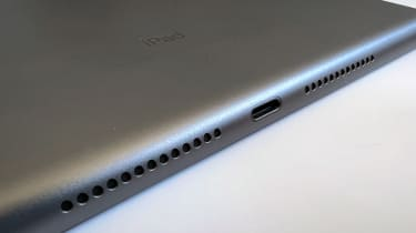 A photograph of the 12.9in 2021 Apple iPad Pro's Lightning port and speakers